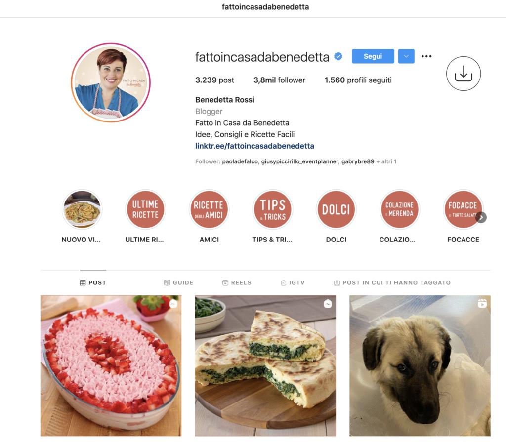 Benedetta Rossi Fatto in casa - food blogging instagram