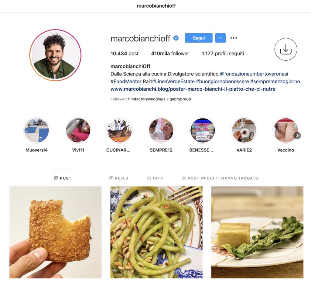 Marco Bianchi - food blogging instagram