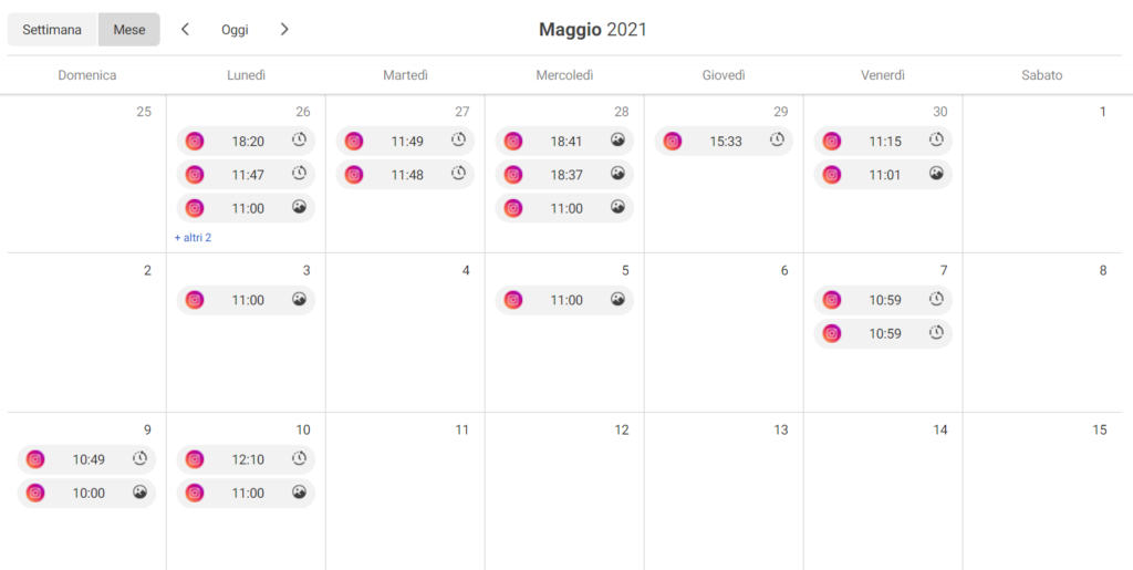 creator studio calendario