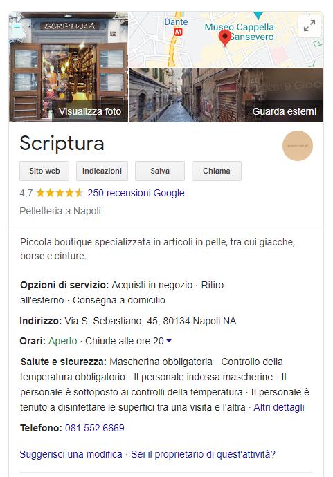 Scriptura Pelletteria Google MyBusiness
